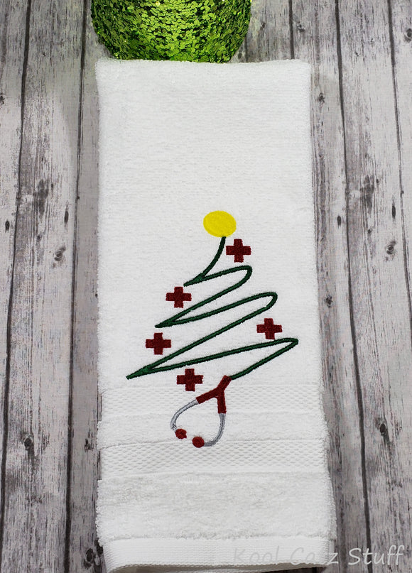 Stethoscope Christmas Tree Hand Towel Design