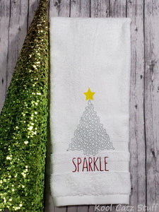 Sparkle Christmas Tree Hand Towel Design