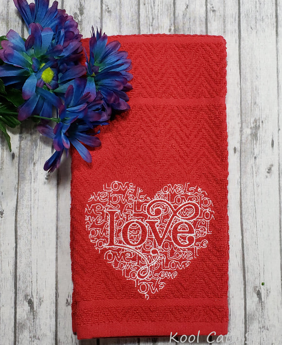 Love Heart Word Art Hand Towel Design