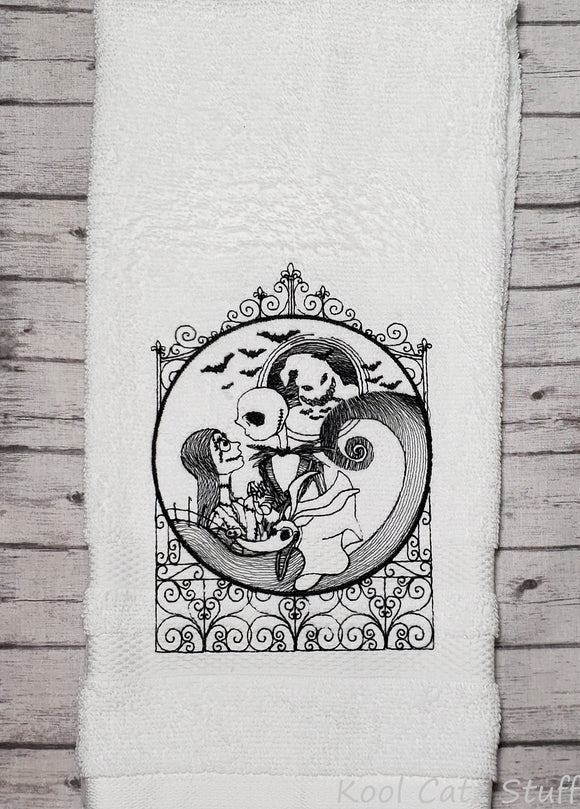 Jack & Sally Skellington at the Gates Hand Towel Design