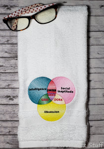 Dweeb Nerd Geek Dork Venn Diagram Hand Towel Design