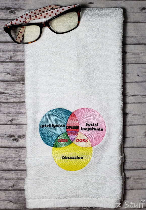 Dweeb Nerd Geek Dork Venn Diagram Towel