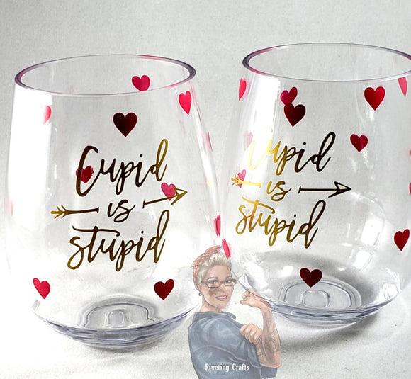 Cupid is Stupid Valentine's Day Glassware