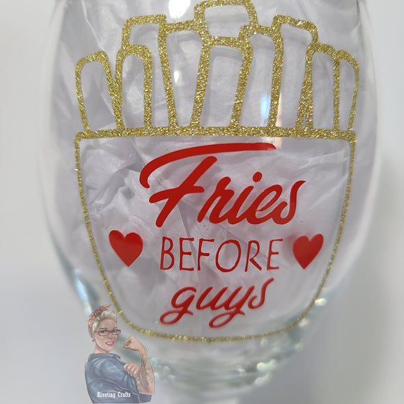 Fries Before Guys Valentine's Day Glassware