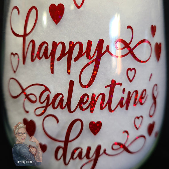 Happy Galentine's Valentine's Day Glassware