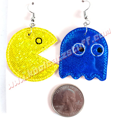 Pac-Man and Ghost Earrings
