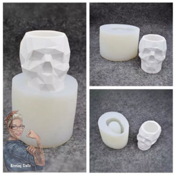 Skull Pen Succulent Candle Holder w/ Geometric Design Silicone Mold