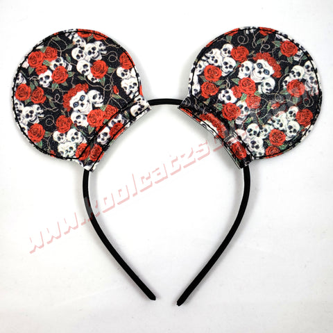 Skull & Red Roses Mouse Ears/Headband