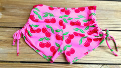 Adjustable Drawstring-side Yoga Shorts in Pink Cherries