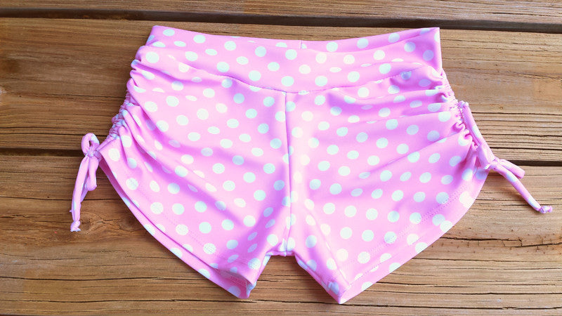 Yoga Shorts *Beach Blanket Bingo Pink Polka Dots