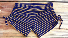 Adjustable Drawstring-side Yoga Shorts *Navy-Gold