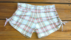 Adjustable Drawstring-side Yoga Shorts in Summer School Plaid