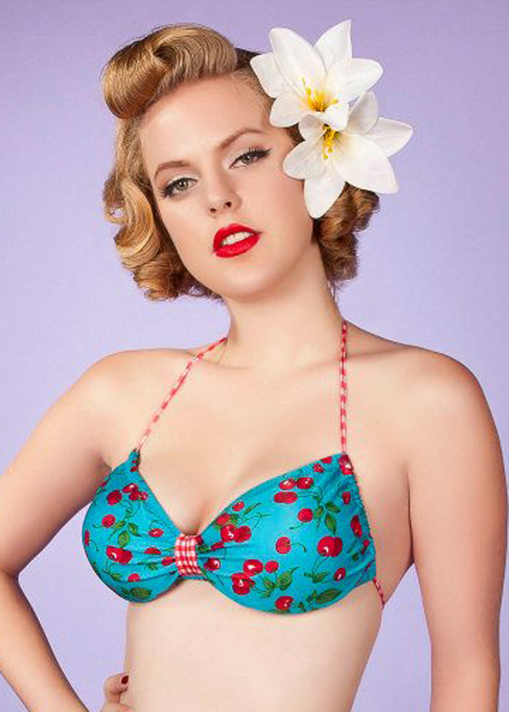 Cherry Bombshell Butterfly Halter Swimsuit Top