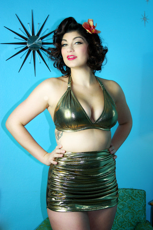 Goldfinger Banded Retro Halter Top & High Waist Skirt Front Bottom
