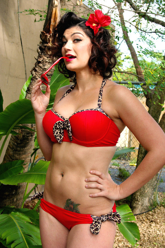 Leopard Lounge (Red) Bow Tie Underwire Top & Bow Tie Bottom Swimsuit
