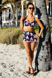Poodlerama Retro Halter Top and High Waist Skirt Bottom Swimsuit