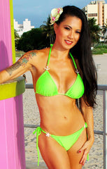 Hot Resort (Neon Green) Triangle Top and Tie Side Bottom Swimsuit