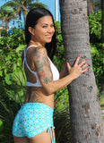 Adjustable Drawstring-side Yoga Shorts in Blue Squares