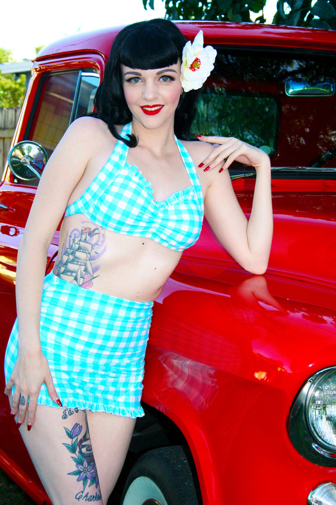 Peggy Sue High Waist Ruffle Skirt Front Swimsuit Bottom