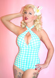 Peggy Sue Criss Cross Halter One Piece Swimsuit