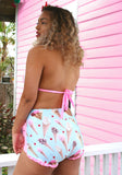 Ice Cream Shop Two-Toned High Waist Bikini Bottom with Ruffle Trim