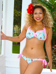 Ice Cream Shop Retro Halter Bikini Top with Ruffle Trim