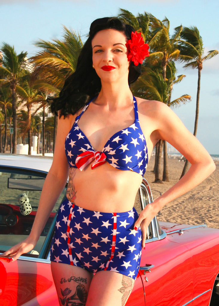 Stars and Stripes Push Up Top and High Waist Bottom