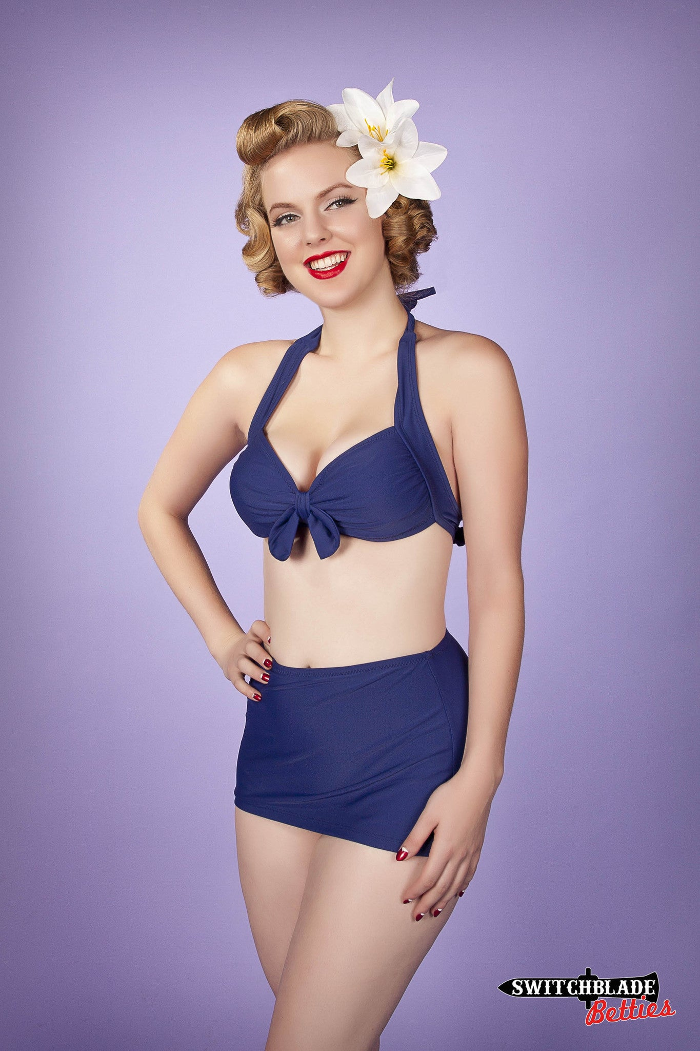 South Pacific Retro Halter Top and High Waisted Flat Skirt Bottom
