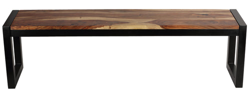 Cortesi Home Delia Wood Dining Bench with Metal Base