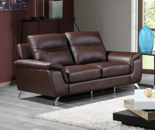 Cortesi Home Chicago Genuine Leather Loveseat, Brown 66