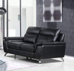 Cortesi Home Chicago Genuine Leather Loveseat, Black 66""