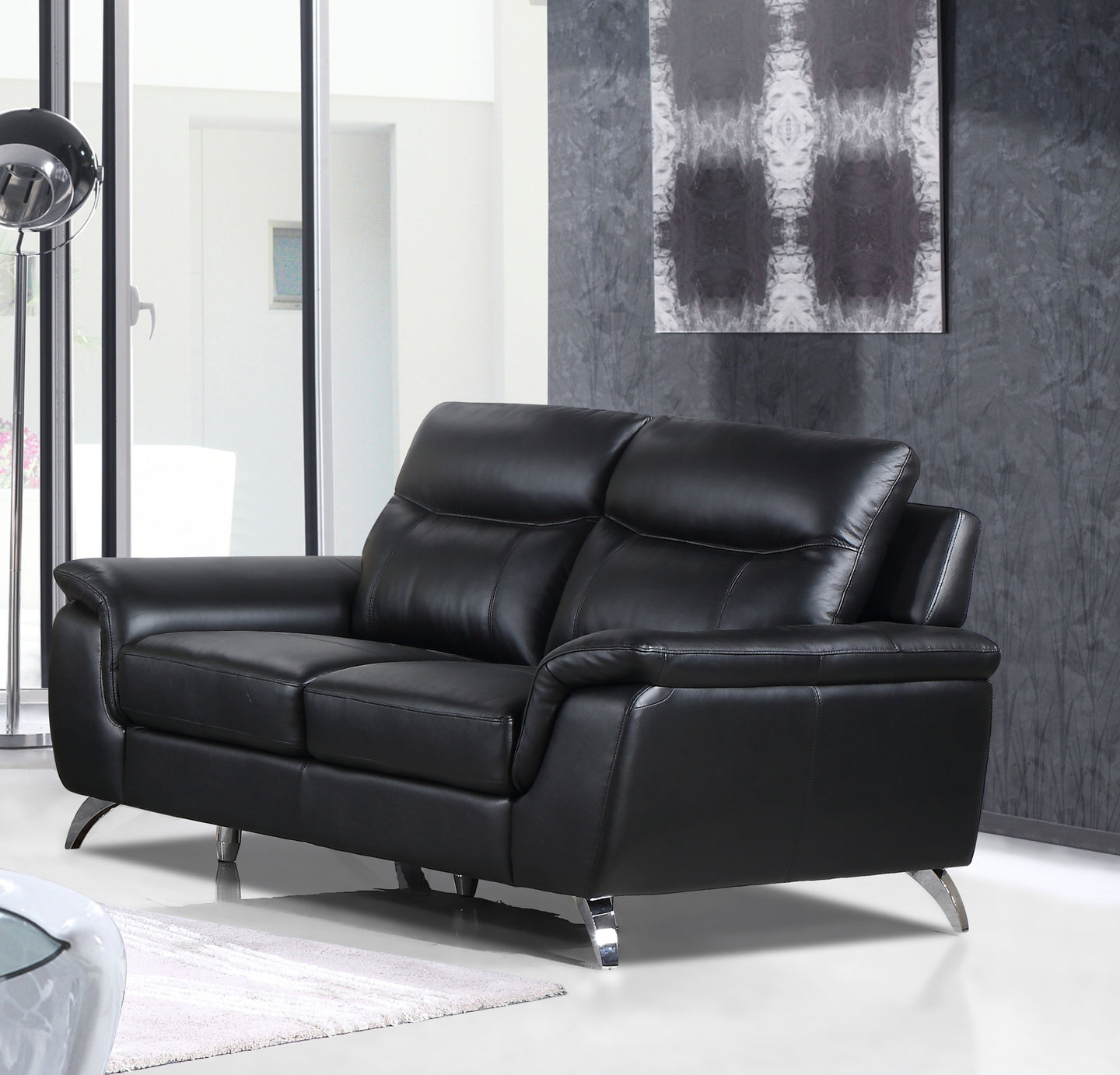 Cortesi Home Chicago Genuine Leather Loveseat, Black 66