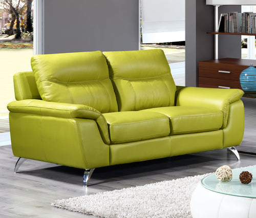 Cortesi Home Chicago Genuine Leather Loveseat, Green