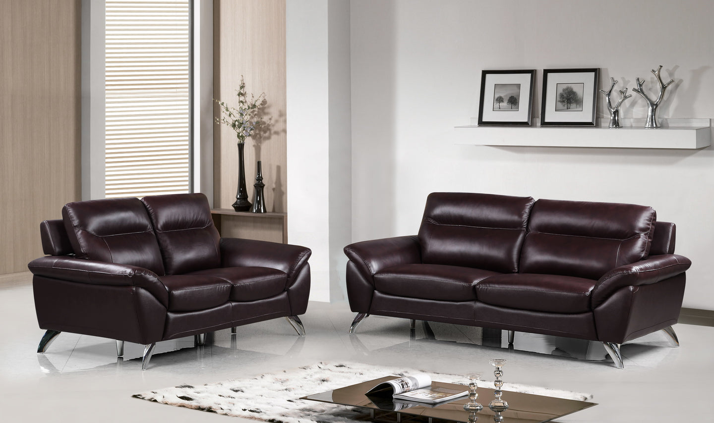 Cortesi Home Contemporary Madison Genuine Leather Sofa & Loveseat Set, Merlot