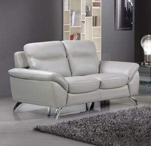 Cortesi Home Contemporary Monaco Genuine Leather Loveseat, Light Grey 60""