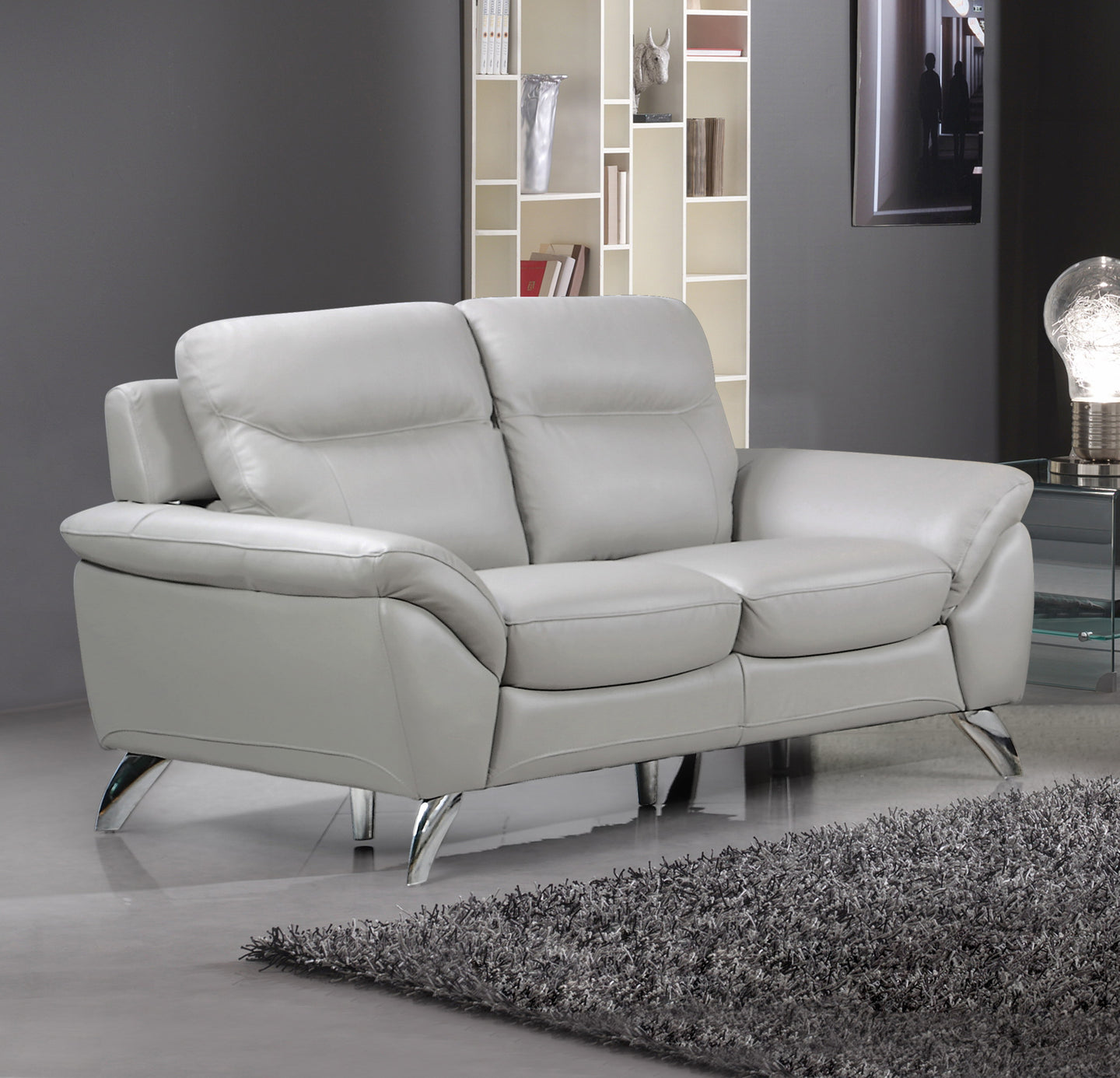 Cortesi Home Contemporary Monaco Genuine Leather Loveseat, Light Grey 60