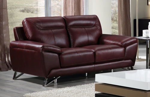 Cortesi Home Phoenix Genuine Leather Loveseat, Deep Merlot 64