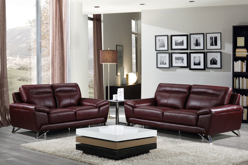 Cortesi Home Phoenix Genuine Leather Sofa & Loveseat Set, Deep Merlot