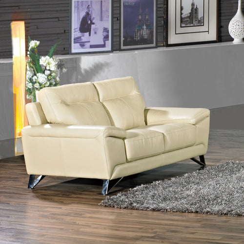 Cortesi Home Phoenix Genuine Leather Loveseat, Cream 64