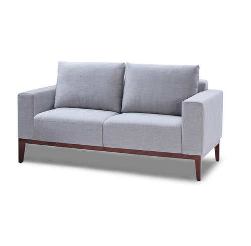 Cortesi Home Roma Loveseat in Soft Grey Fabric with Wood Legs, 64