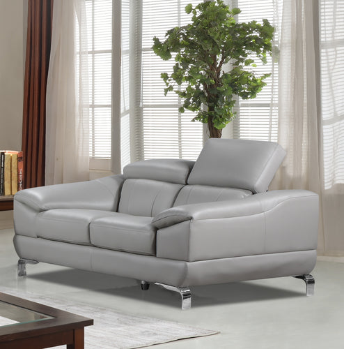Cortesi Home Vegas Genuine Leather Loveseat with Adjustable Headrests, Light Grey 66