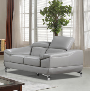 Cortesi Home Vegas Genuine Leather Loveseat with Adjustable Headrests, Light Grey 66""
