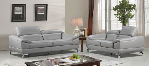 Cortesi Home Vegas Genuine Leather Sofa & Loveseat Set with Adjustable Headrests, Grey