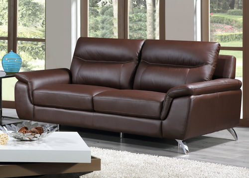 Cortesi Home Chicago Genuine Leather Sofa, Brown 79