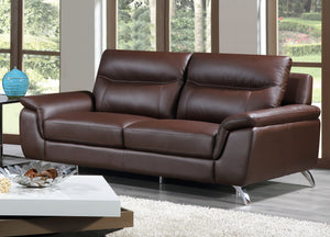Cortesi Home Chicago Genuine Leather Sofa, Brown 79""