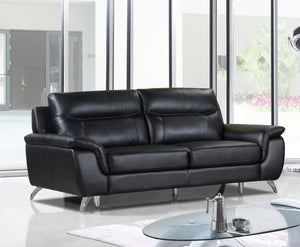 Cortesi Home Chicago Genuine Leather Sofa, Black 79""