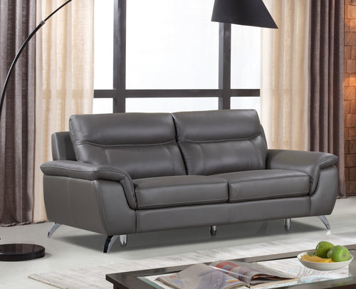 Cortesi Home Chicago Genuine Leather Sofa, Dark Grey 79