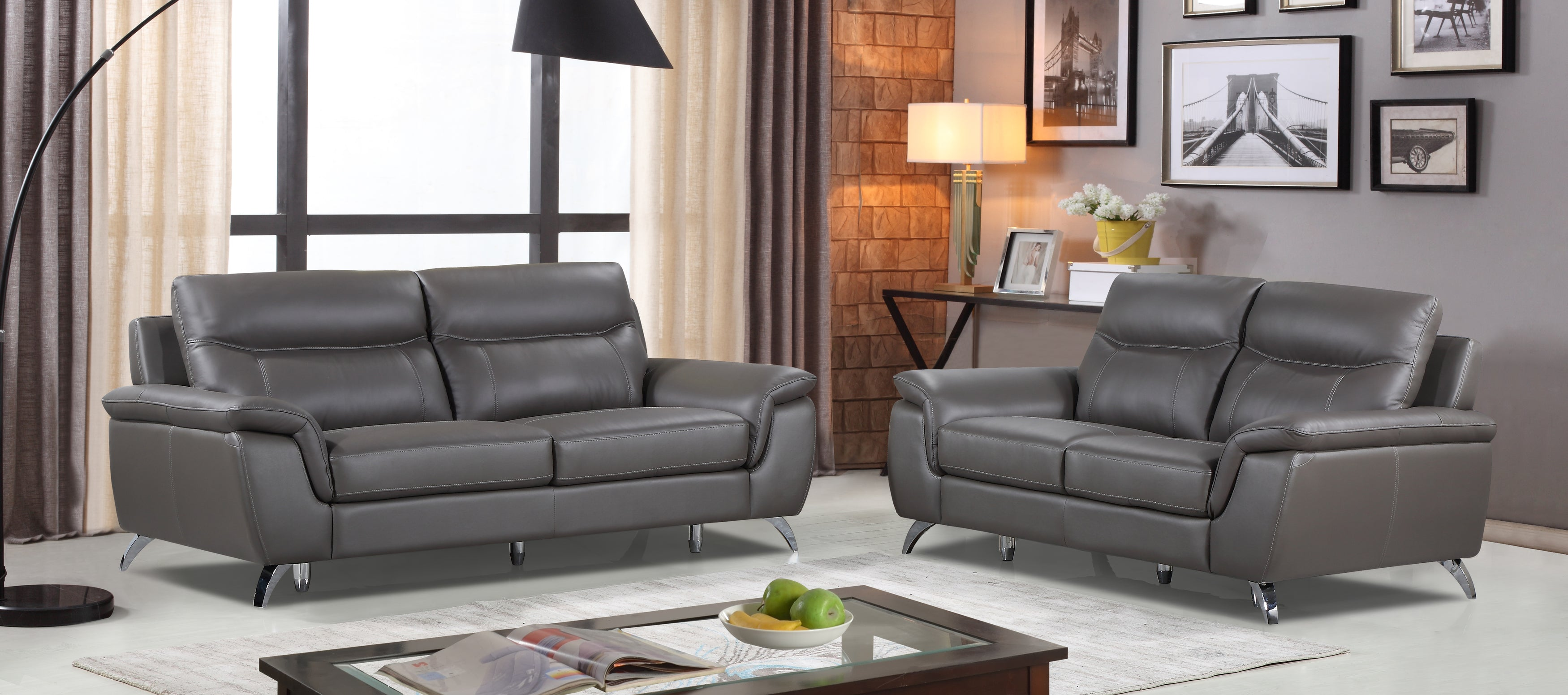Outstanding Cortesi Home Chicago Genuine Leather Sofa Loveseat Set Dark Grey Unemploymentrelief Wooden Chair Designs For Living Room Unemploymentrelieforg