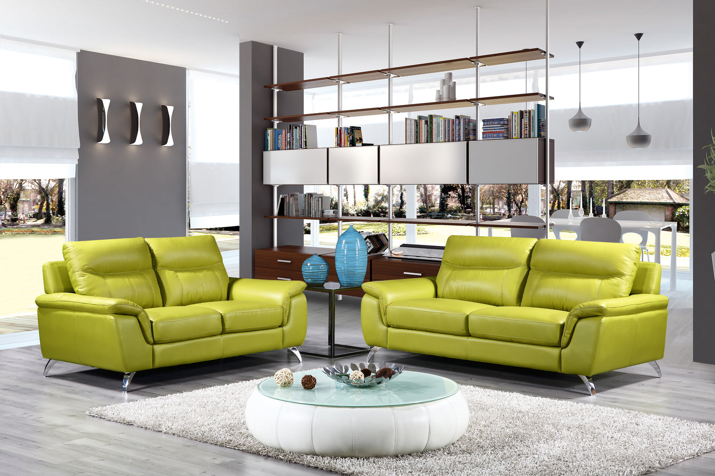 Cortesi Home Chicago Genuine Leather Sofa U0026 Loveseat Set, Green