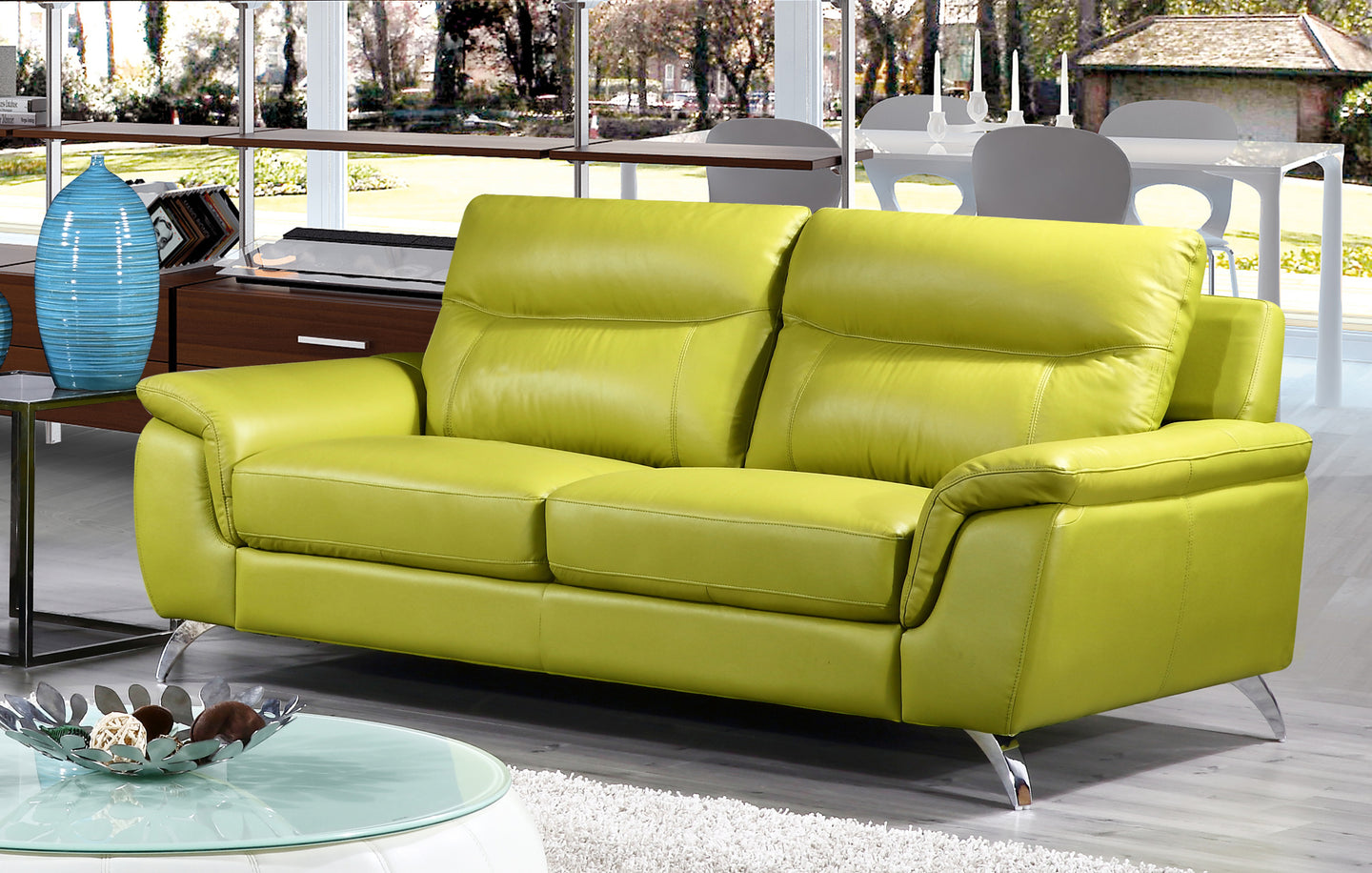 Cortesi Home Chicago Genuine Leather Sofa, Green